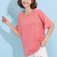 Round Neck Solid Pink Short Sleeved T-Shirt