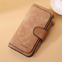 Mesh High Quality Zipper Closure Women Handheld Wallets - Brown