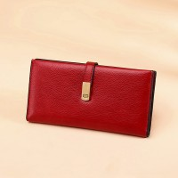 Magnetic Closure Synthetic Leather Luxury Women Fashion Wallet - Red