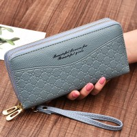 Double Zipper Synthetic Leather Women Fashion Wallet - Blue