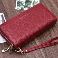 Double Zipper Synthetic Leather Women Fashion Wallet - Red