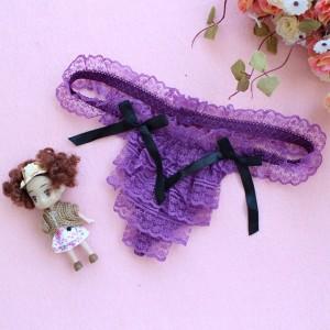 Women Low Waist Ultra Thin Layered Lace Transparent Thong -  Purple