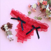 Women Low Waist Ultra Thin Layered Lace Transparent Thong -  Red