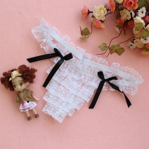 Women Low Waist Ultra Thin Layered Lace Transparent Thong -  White