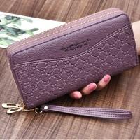 Double Zipper Synthetic Leather Women Fashion Wallet - Purple