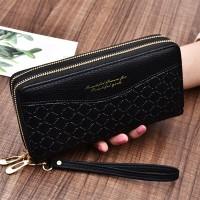 Double Zipper Synthetic Leather Women Fashion Wallet - Black