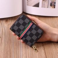 Geometric Printed Zipper Closure Mini Card Wallet - Black