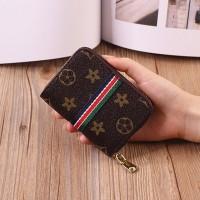 Geometric Printed Zipper Closure Mini Card Wallet - Brown