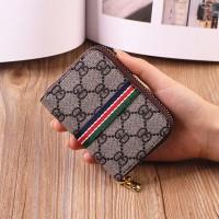 Geometric Printed Zipper Closure Mini Card Wallet - Coffee
