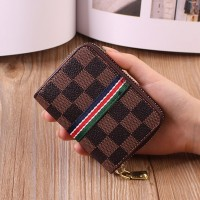 Geometric Printed Zipper Closure Mini Card Wallet - Dark Brown