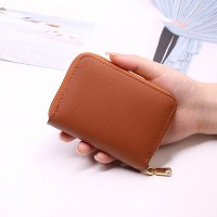 Zipper Closure Mini Pocket Unisex Card Wallet - Brown