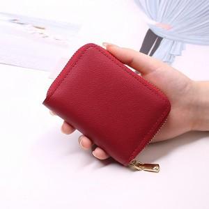 Zipper Closure Mini Pocket Unisex Card Wallet - Red