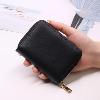 Zipper Closure Mini Pocket Unisex Card Wallet - Black