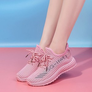 Mesh Hollow Breathable Light Weight Running Sneakers - Pink