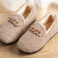Fluffy Cute Special Comfy Soft Flat Shoes - Khaki