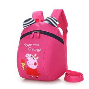 Cartoon Piggy Print Cute Stylish Mini Kids Backpacks - Hot Pink