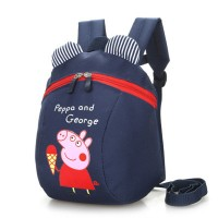 Cartoon Piggy Print Cute Stylish Mini Kids Backpacks - Dark Blue