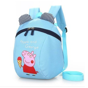 Cartoon Piggy Print Cute Stylish Mini Kids Backpacks - Sky Blue
