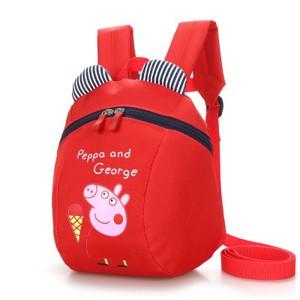Cartoon Piggy Print Cute Stylish Mini Kids Backpacks - Red