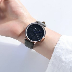 Sober Fashion Design Plain Women Wear Wrist Watch - Black