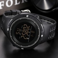Silicon Strap Digital Dial Hook Closure Sports Wrist Watch - Black