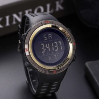 Silicon Strap Digital Dial Hook Closure Sports Wrist Watch - Coffee