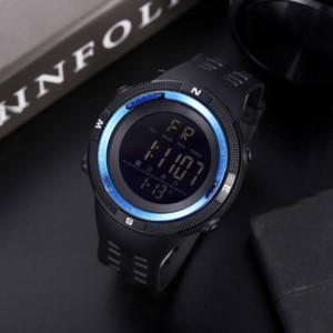 Silicon Strap Digital Dial Hook Closure Sports Wrist Watch - Black Blue