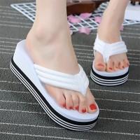 Thick Bottom Fancy Wear Flip Flop Women Slippers - White