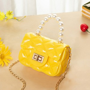 Pearl Decorative Twist Lock Patchwork Texture Messenger Bags - Yellow