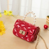 Pearl Decorative Twist Lock Patchwork Texture Messenger Bags - Red
