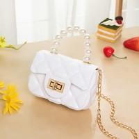 Pearl Decorative Twist Lock Patchwork Texture Messenger Bags - White
