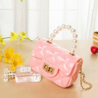 Pearl Decorative Twist Lock Patchwork Texture Messenger Bags - Pink