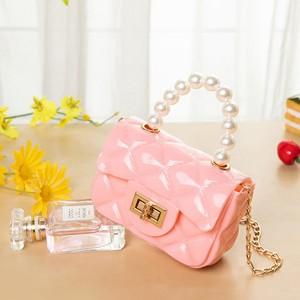 Pearl Decorative Twist Lock Patchwork Texture Messenger Bags - Pink