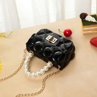 Pearl Decorative Twist Lock Patchwork Texture Messenger Bags - Black