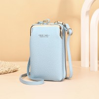 Zipper Closure Synthetic Leather Smart Mini Vertical Shoulder Bags - Light Blue