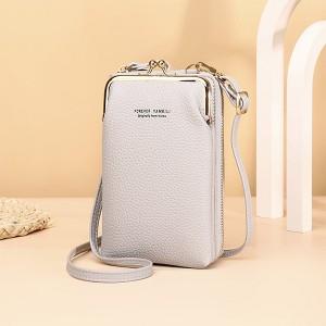 Zipper Closure Synthetic Leather Smart Mini Vertical Shoulder Bags - Gray