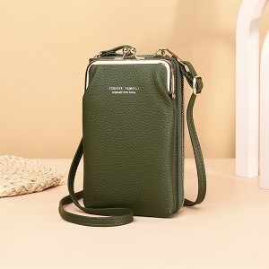 Zipper Closure Synthetic Leather Smart Mini Vertical Shoulder Bags - Green