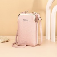 Zipper Closure Synthetic Leather Smart Mini Vertical Shoulder Bags - Pink