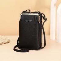 Zipper Closure Synthetic Leather Smart Mini Vertical Shoulder Bags - Black