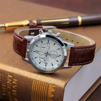 Leather Strap Multi Dial Elegant Wrist Watch - Brown White