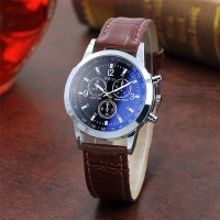 Leather Strap Multi Dial Elegant Wrist Watch - Multicolor