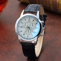 Leather Strap Multi Dial Elegant Wrist Watch - Black White