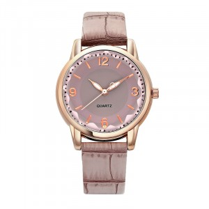 Crystal Carved Leather Strapped Fancy Wrist Watch - Purple