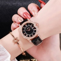 Crystal Patched Party Wear Analogue Wrist Watch - Black
