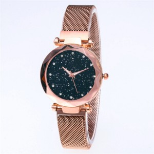 Mesh Stainless Steel Carved Crystal Women Party Wear Wrist Watch - Golden