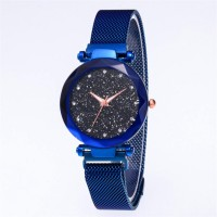 Mesh Stainless Steel Carved Crystal Women Party Wear Wrist Watch - Blue