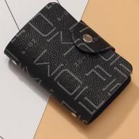 Alphabetic Printed Unisex Mini Pocket Card Wallet - Black