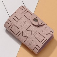 Alphabetic Printed Unisex Mini Pocket Card Wallet - Pink