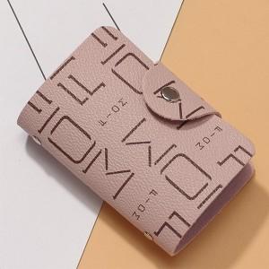 Alphabetic Printed Unisex Mini Pocket Card Wallet - Pink