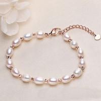 Decorative Pearl Hooked Closure Fashion Bracelet - White